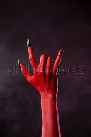 Foto stock: Zumbi · sangrento · mãos · cinza · mulher · mão