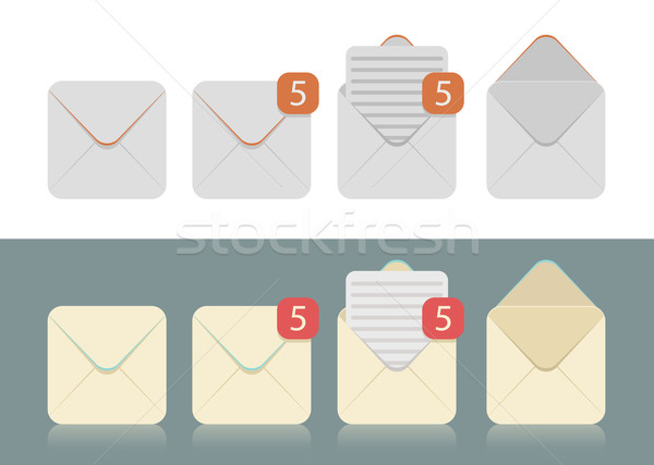 Vector set icoane e-mail inbox portocaliu Imagine de stoc © Elisanth