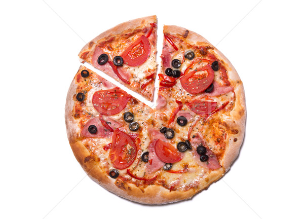 Top view of delicious pizza with ham and tomatoes with a slice r Stock photo © Elisanth