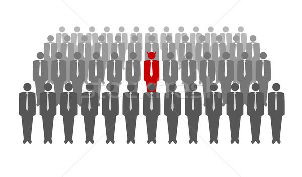 Czerwony diabeł tłum biznesmenów działalności streszczenie Zdjęcia stock © Elisanth