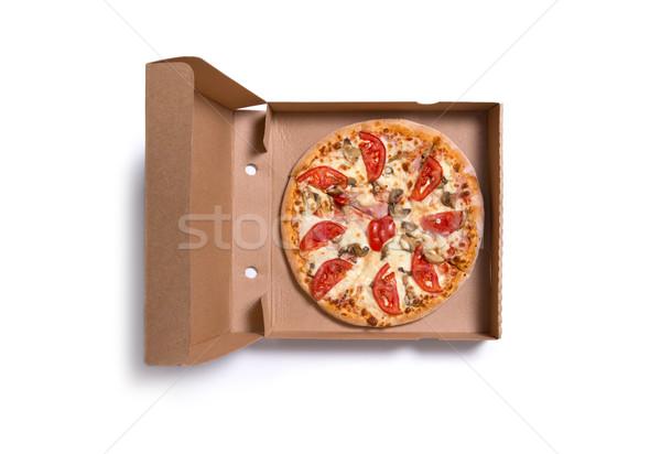 Lezzetli İtalyan pizza jambon domates kutu Stok fotoğraf © Elisanth
