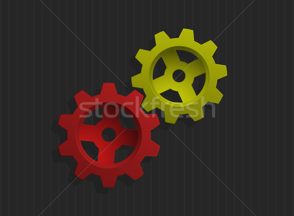 Stockfoto: Gekleurd · versnellingen · grijs · business · ontwerp · technologie