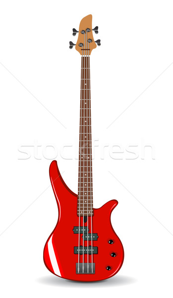 Vector illustration of red bass guitar Stock photo © Elisanth