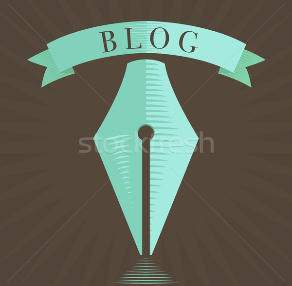 Vector fountain pen icon, blog symbol in engraved style  Stock photo © Elisanth