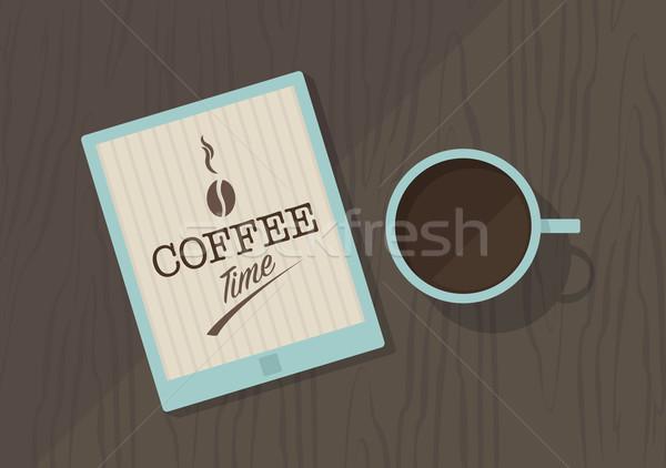 Vektör üst görmek kahve fincanı kahve Stok fotoğraf © Elisanth