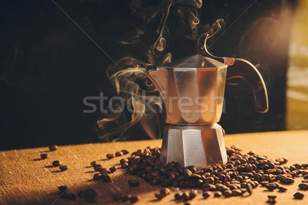 итальянский кофеварка кофе холст кофе фон Сток-фото © Elisanth
