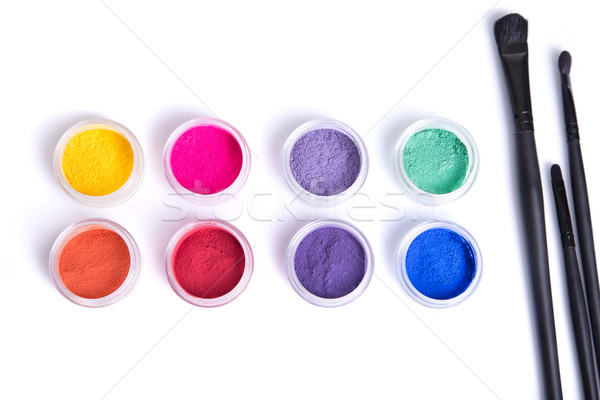 Top view of matte mineral eye shadows and makeup brushes  Stock photo © Elisanth