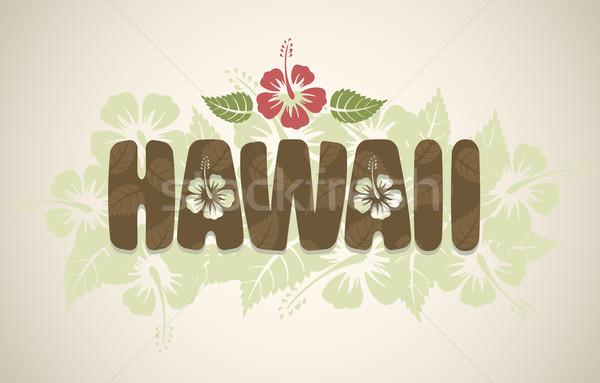 Vektor Hawaii szó hibiszkusz virágok klasszikus Stock fotó © Elisanth
