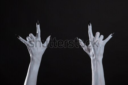 Branco monstro mãos heavy metal assinar Foto stock © Elisanth