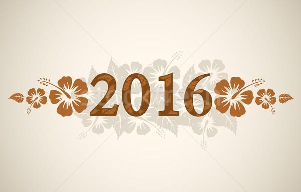 Stockfoto: Vector · 2016 · tekst · tropische · hibiscus · vintage