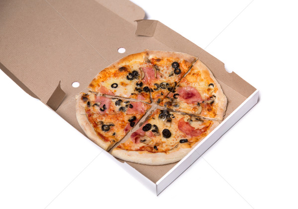 Lezzetli pizza jambon zeytin kutu yalıtılmış Stok fotoğraf © Elisanth