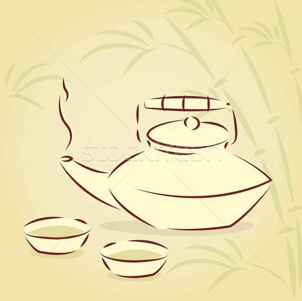 Vector teapot with bamboo background  Stock photo © Elisanth