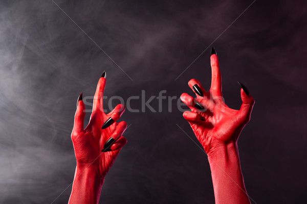 Effrayant rouge diable mains noir forte Photo stock © Elisanth