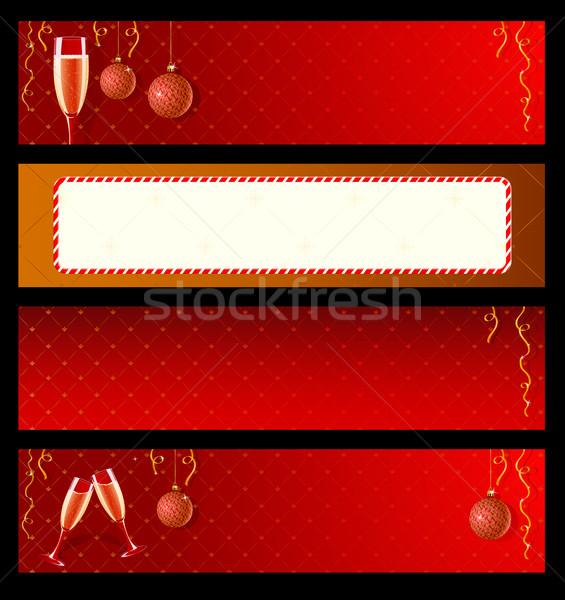 Сток-фото: набор · вектора · Этикетки · Новый · год · шампанского · украшения