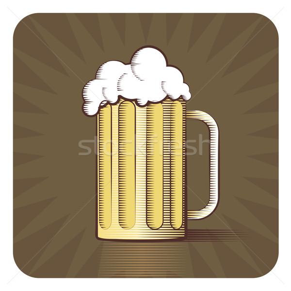 Vector icon bier mok gegraveerd stijl Stockfoto © Elisanth