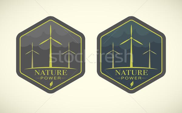 Szélturbinák öko ikonok égbolt természet technológia Stock fotó © Elisanth
