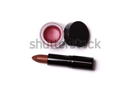 Golden red lipstick and lip gloss in jar   Stock photo © Elisanth