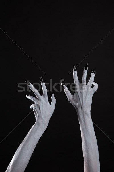 Pale ghost hands with sharp black nails, body art  Stock photo © Elisanth