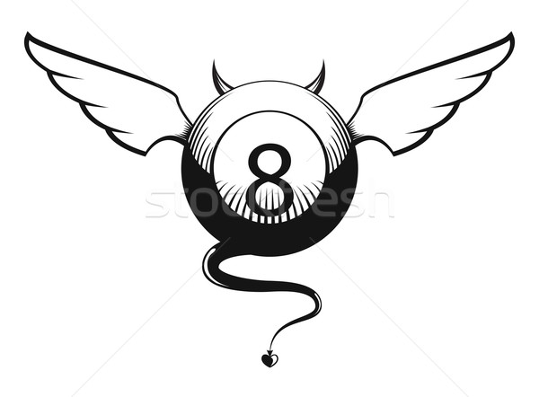 Vector illustration of eight ball with horns and tail  Stock photo © Elisanth