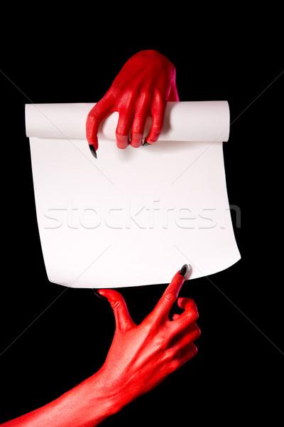 красный дьявол рук бумаги выделите указывая Сток-фото © Elisanth