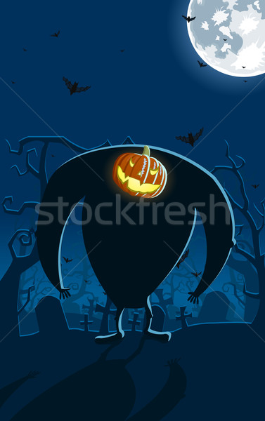 Vector illustration of scary Jack-o-lantern man on the grave  Stock photo © Elisanth