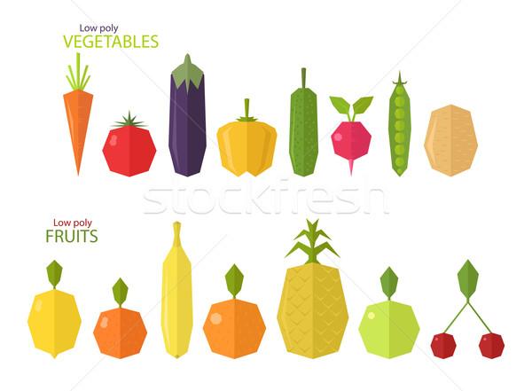 Vektor szett alacsony gyümölcsök zöldségek izolált Stock fotó © Elisanth