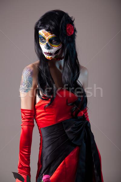 Raio crânio menina vermelho vestido de noite Foto stock © Elisanth