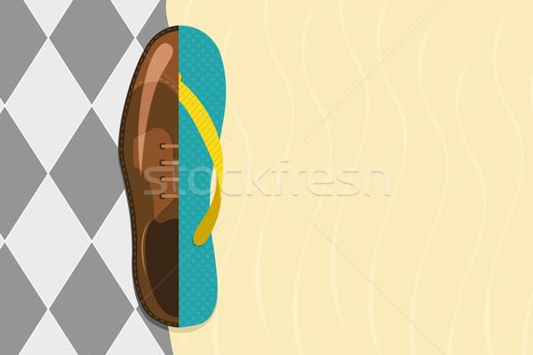 Vector illustration of formal shoe and flip flop  Stock photo © Elisanth