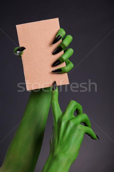 Verde monstruo manos negro unas Foto stock © Elisanth