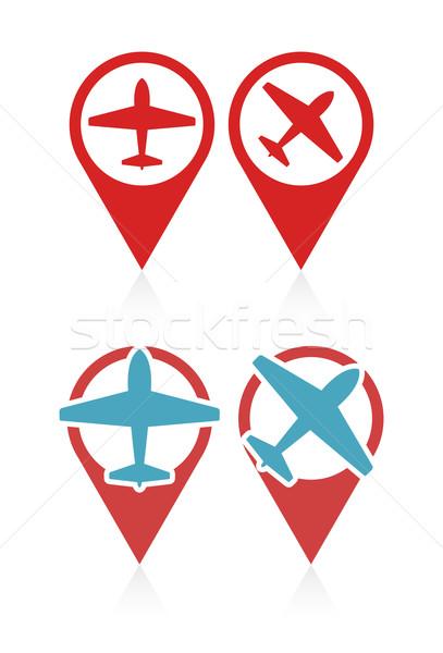 Stock fotó: Vektor · szett · repülőgép · utazás · vakáció · szimbólum