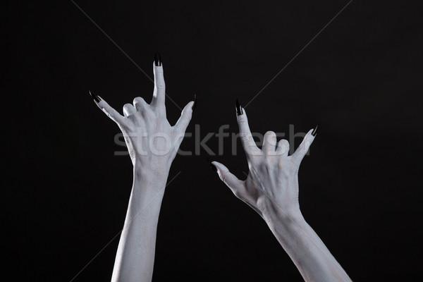 Stock fotó: Sápadt · szörny · kezek · mutat · nehézfém · szimbólum