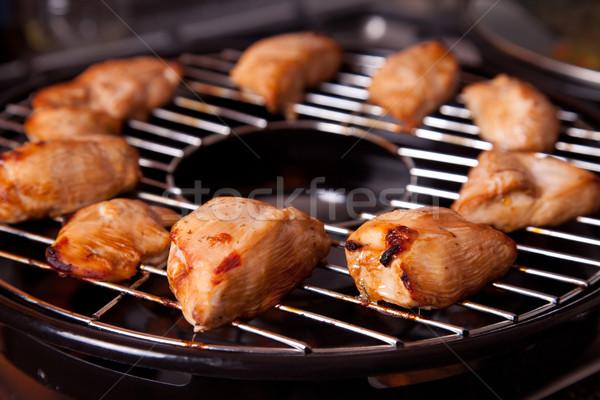 ızgara tavuk gaz ızgara lezzetli meme tavuk Stok fotoğraf © Elisanth