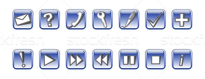 набор вектора иконки 14 синий телефон Сток-фото © Elisanth