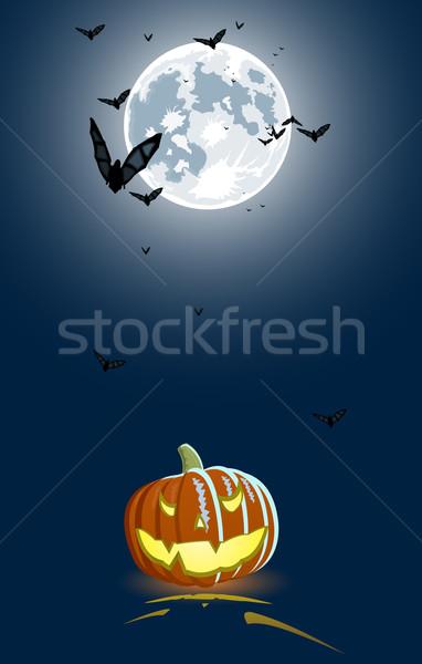 Kwaad pompoen volle maan achtergrond oranje Blauw Stockfoto © Elisanth