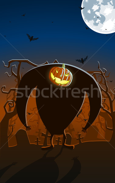 Stock photo: Vector illustration of scary glowing Jack-o-lantern man on the g