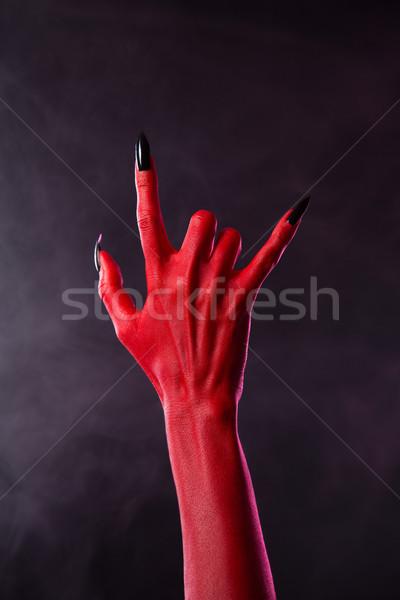 Assustador mão heavy metal gesto Foto stock © Elisanth