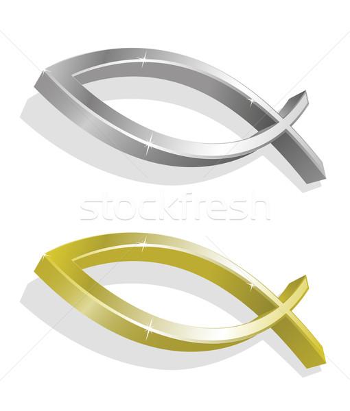 Dorado plata realista peces iglesia Biblia Foto stock © Elisanth