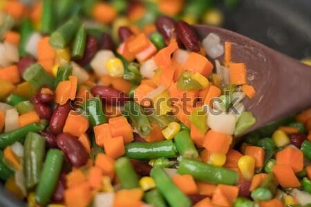 Doku taze sebze lezzetli fasulye havuç Stok fotoğraf © Elisanth