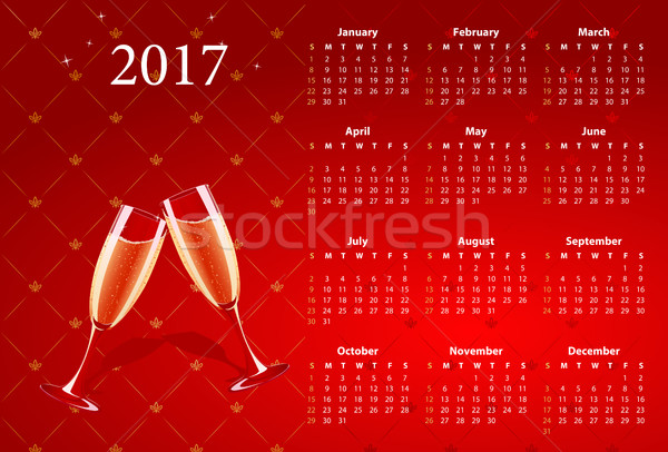 Vector red calendar 2017 with champagne glasses Stock photo © Elisanth