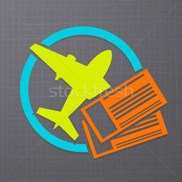Vector icon with airplane and air tickets  Stock photo © Elisanth