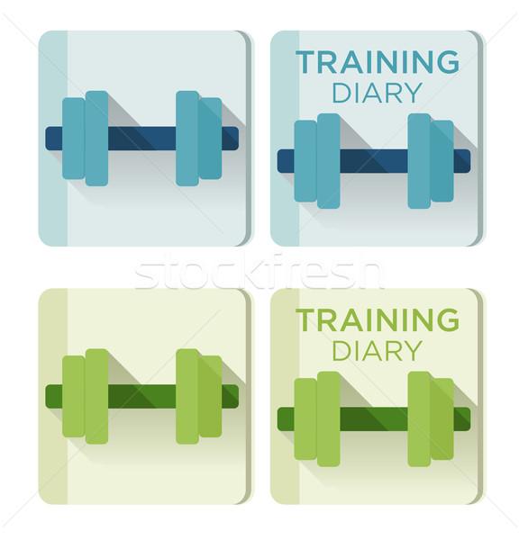 Stock fotó: Vektor · súlyzók · képzés · napló · szöveg · alkalmazás