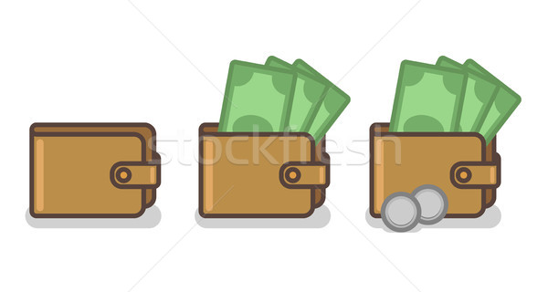 Vector set of wallet icons with banknotes and coins Stock photo © Elisanth