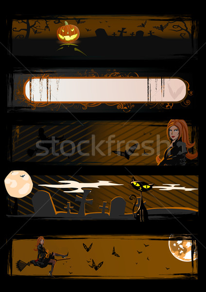 Set of vector Halloween banners Stock photo © Elisanth