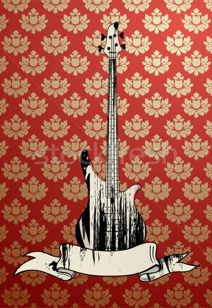 Basszus gitár koszos báj virágmintás tapéta Stock fotó © Elisanth