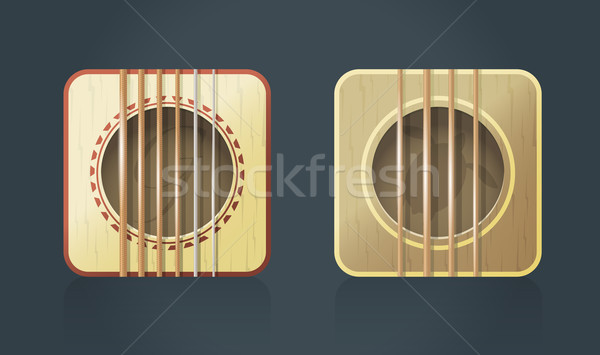 Vector classic guitar square icons for music software  Stock photo © Elisanth