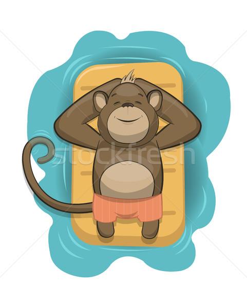 Vektor majom megnyugtató levegő matrac tenger Stock fotó © Elisanth