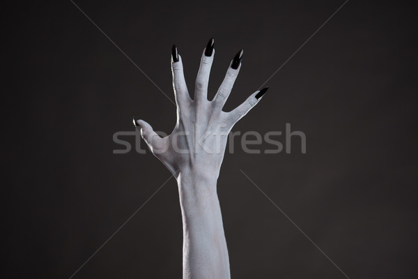 Spooky white hand with black nails  Stock photo © Elisanth