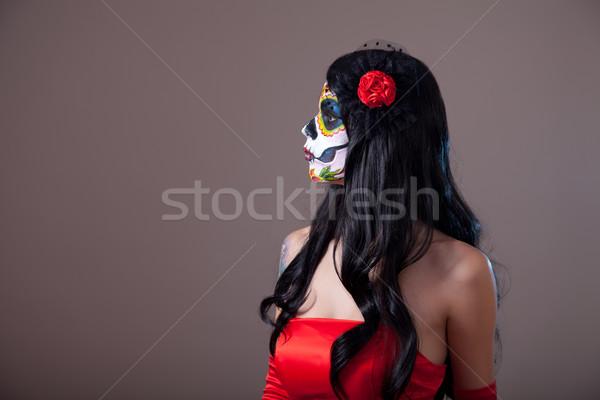 Profiel suiker schedel meisje rode jurk Stockfoto © Elisanth