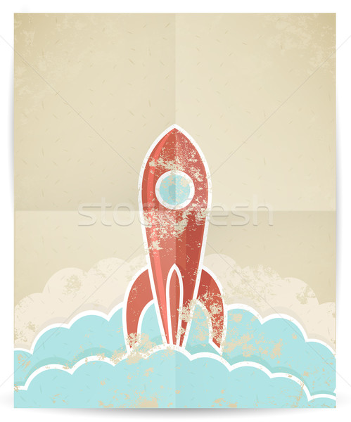 Vector retro rocket with grunge texture  Stock photo © Elisanth