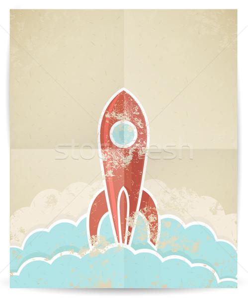 вектора ретро ракета текстуры небе бумаги Сток-фото © Elisanth